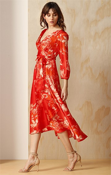 KWANZAN CHERRY BISHOP SLEEVE A-LINE SILK SATIN WRAP DRESS IN CRIMSON ORCHID FLORAL PRINT