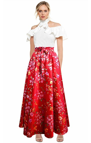 PALACE GARDENS HAND PAINTED LONG EVENING BALL SKIRT IN RED FLOWER PRINT