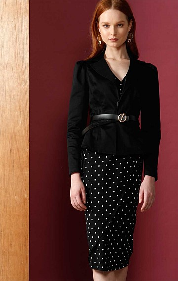 PUFF SLEEVE TAILORED BLAZER JACKET WITH COLLAR IN BLACK