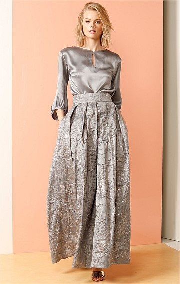 CENTRAL PARK LAKE LONG MAXI A-LINE PLEATED TEXTURED EVENING BLACK TIE BALL SKIRT IN SILVER
