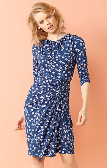 BETHESDA GATHERED KNOT WAIST 3/4 SLEEVE JERSEY DRESS IN BLUE PURPLE FLORAL