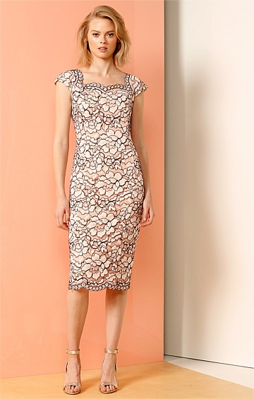 FIFTH AVENUE FITTED CAP SLEEVE SCOOP NECK LACE DRESS IN PINK LACE
