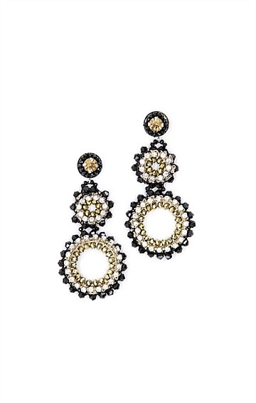 STATEMENT BLACK GOLD AND SILVER DROP CIRCLE STUDS WITH DIAMANTES AND BEADING