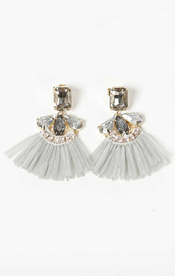 STRAW FRINGE TASSEL SILVER AND GOLD CLEAR JEWELED STUD EARRING