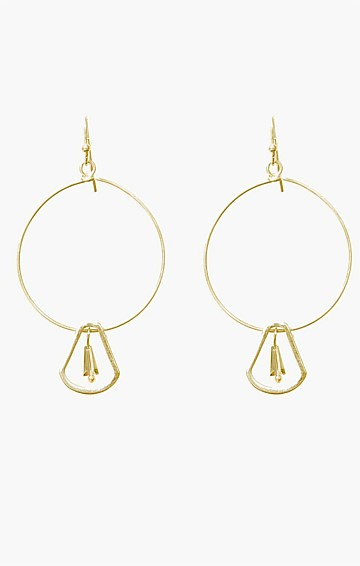 HOOP DROP FINE EARRING WITH BEAD IN GOLD