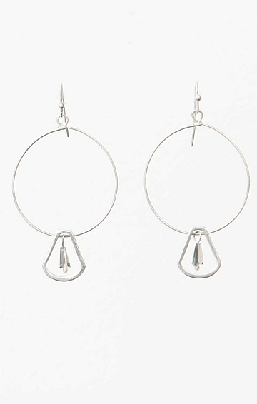 HOOP DROP FINE EARRING WITH BEAD IN SILVER