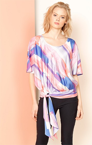 TISCH ADJUSTABLE TIE BLOUSED SILK BATWING TOP IN PINK BLUE PRINT
