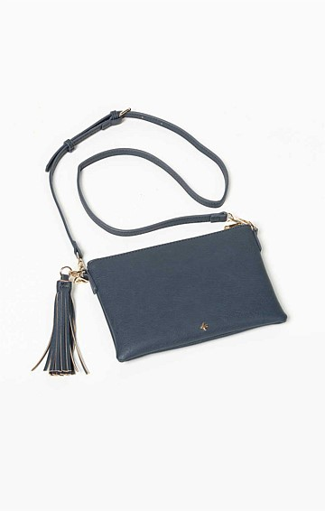 ZIP TOP CONVERTIBLE CROSS BODY CLUTCH BAG WITH TASSEL IN NAVY