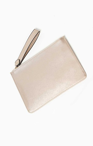ZIP TOP CURVED CLUTCH BAG IN GOLD