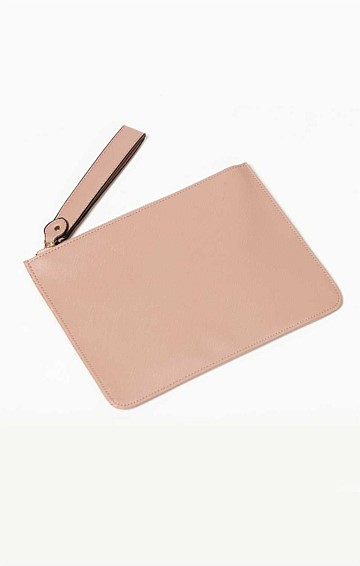 ZIP TOP CURVED CLUTCH BAG IN NUDE PINK