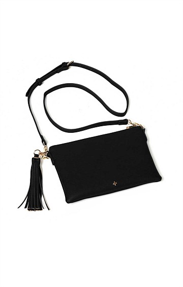 ZIP TOP CONVERTIBLE CROSS BODY CLUTCH BAG WITH TASSEL IN BLACK