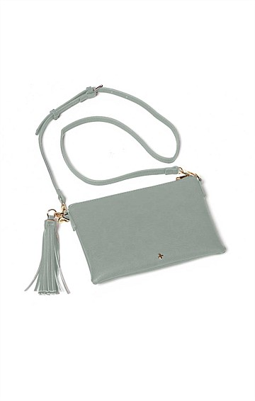 ZIP TOP CONVERTIBLE CROSS BODY CLUTCH BAG WITH TASSEL IN GREY