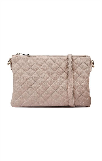 QUILTED ZIP TOP CONVERTIBLE CROSS BODY CLUTCH BAG WITH IN NUDE PINK