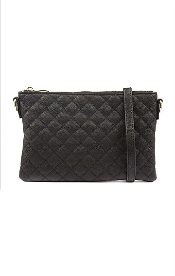 QUILTED ZIP TOP CONVERTIBLE CROSS BODY CLUTCH BAG WITH IN BLACK