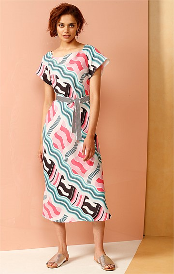 MUSIC CLOCK CAP SLEEVE CUPRO SHIFT DRESS IN JADE AND PINK WAVE PRINT
