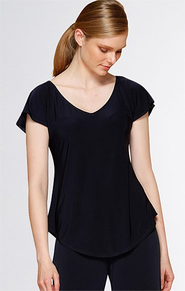 ANALIA LOOSE FIT V-NECK CAP SLEEVE JERSEY TOP IN NAVY