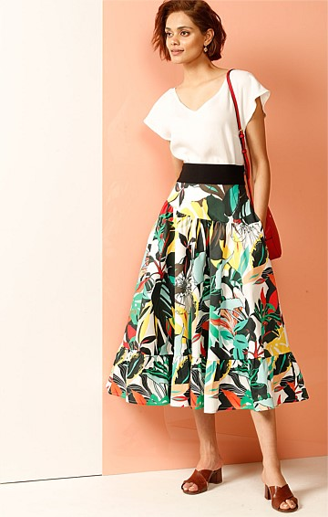 HATARI COTTON A-LINE MIDI SKIRT WITH FRILL HEM IN YELLOW GREEN JUNGLE PRINT