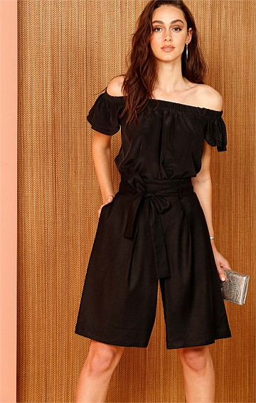 REDFORD SILK CAP SLEEVE OFF THE SHOULDER RUFFLE TOP IN BLACK