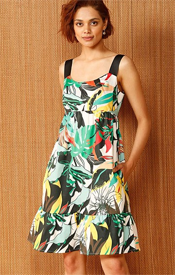 MOGAMBO COTTON SLEEVELESS A-LINE DRESS IN YELLOW AND GREEN JUNGLE PRINT