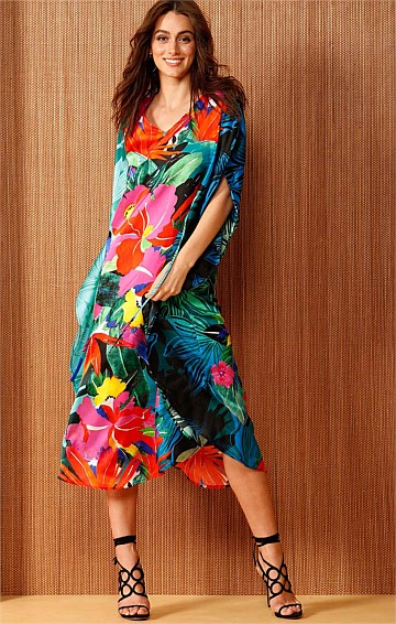 NEW GUINEA REVERSIBLE SILK LOOSE FIT MIDI KAFTAN IN VIBRANT FLORAL PRINT