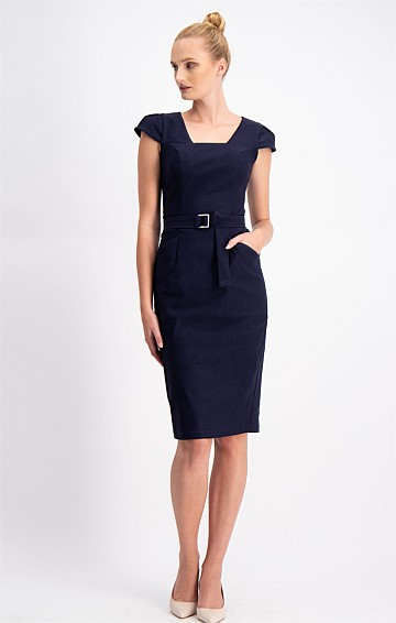 FITTED CAP SLEEVE STRETCH BENGALINE BELTED DRESS IN NAVY