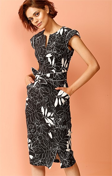 MICHELE CAP SLEEVE STRETCH BENGALINE FITTED BELTED DRESS IN CHARCOAL IVORY LEAF PRINT