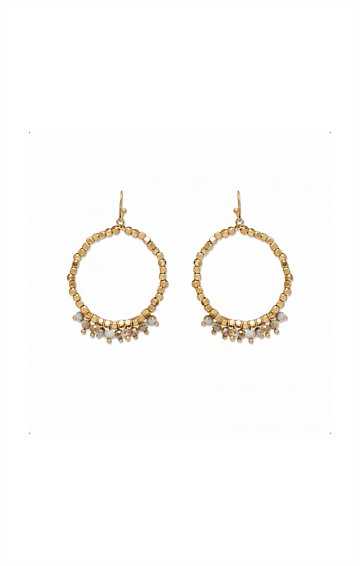 BEADED ROUND STONE HOOP EARRING IN GOLD