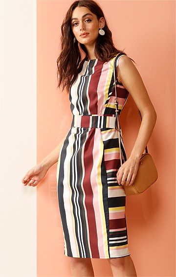 DALLAS STRIPED KNEE LENGTH SHIFT DRESS IN PINK PLUM LEMON STRIPE PRINT