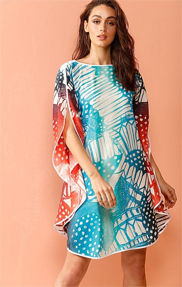 INDIAN SUMMER REVERSIBLE SILK KAFTAN AND SLIP IN AQUA RUST PRINT