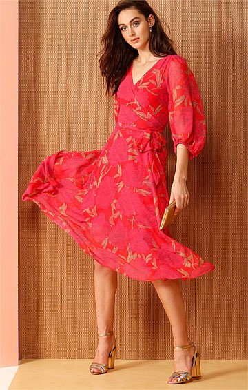 BARONESS BISHOP SLEEVE A-LINE WRAP DRESS IN VIBRANT PINK FLORAL PRINT