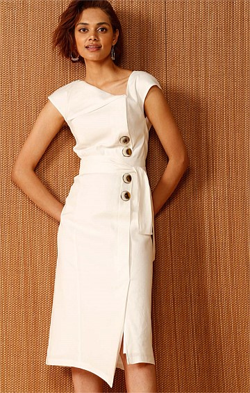 THE INDIAN LINEN FOLD DOWN NECKLINE DRESS WITH PLEATS AND BUTTONS IN IVORY