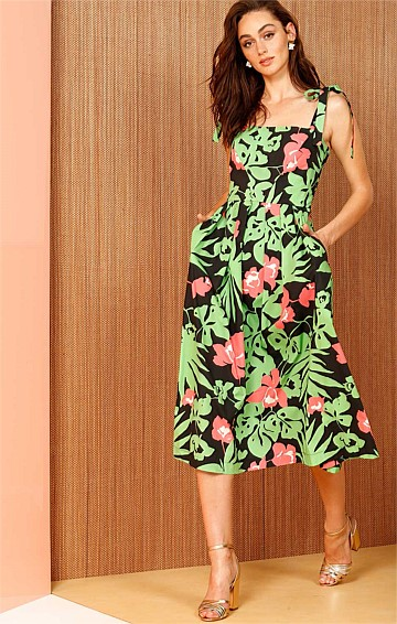 MONTEVERDE CONVERTIBLE STRAP FIT AND FLARE A-LINE MIDI DRESS IN BLACK GREEN FLORAL PRINT