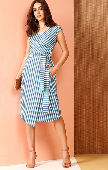 KATHERINE COTTON V-NECK WRAP DRESS IN BLUE WHITE STRIPE PRINT