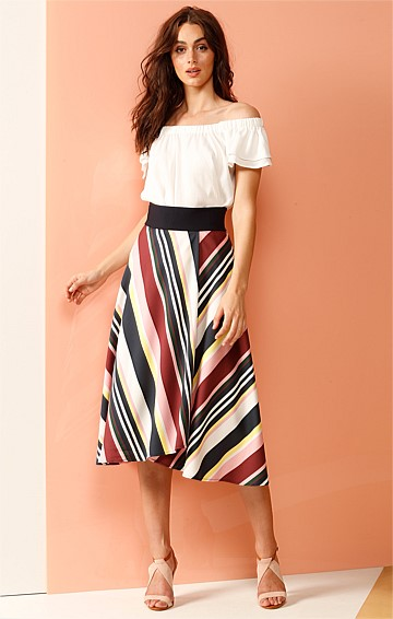GHIRADON FAUX WRAP COTTON SKIRT WITH PINK PLUM LEMON STRIPE