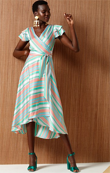 AFRICAN QUEEN FRILL CAP SLEEVE WRAP MIDI DRESS IN PINK MINT STRIPE