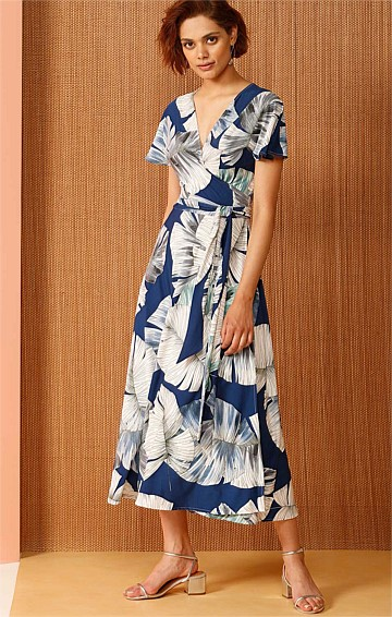 RAKSHA REVERSIBLE STRETCH JERSEY WRAP MIDI DRESS IN BLUE JUNGLE LEAF PRINT