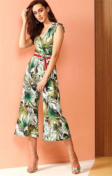 BAGHARA STRETCH JERSEY WIDE LEG JUMPSUIT IN JUNGLE PRINT