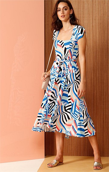 PANTANA CAP SLEEVE STRETCH JERSEY MIDI DRESS IN MULTI ABSTRACT PRINT