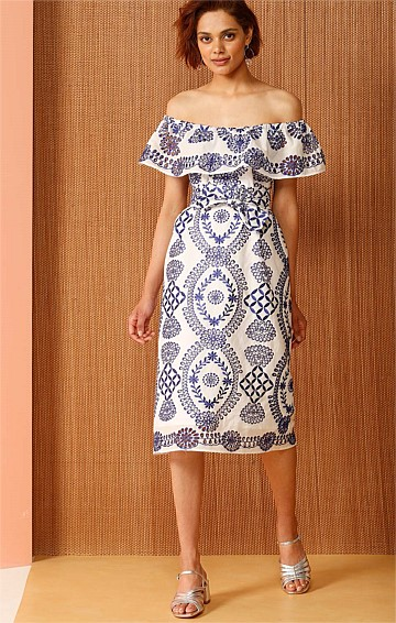 BRAZIL OFF THE SHOULDER EMBROIDERED COTTON DRESS IN BLUE WHITE