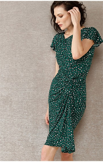 RICKI GATHERED KNOT WAIST JERSEY DRESS IN EMERALD ANIMAL PRINT