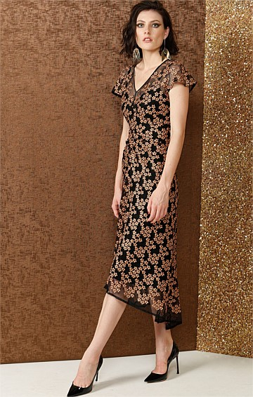MAUBOY EMBROIDERED HI-LO GATHERED WAIST EVENING DRESS IN BRONZE FLOWER