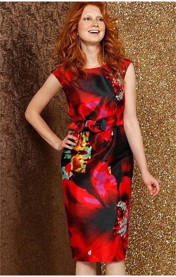 KIM CAP SLEEVE FITTED PENCIL DRESS IN RED FLOWER PRINT
