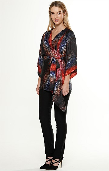 SIA WATERFALL WRAP KIMONO SLEEVE TOP IN GALAXY SPARKLE PRINT