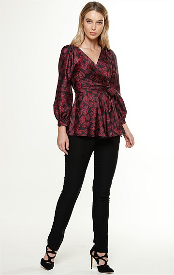 NATALIE BISHOP SLEEVE V-NECK WRAP BLOUSE IN RED PETAL