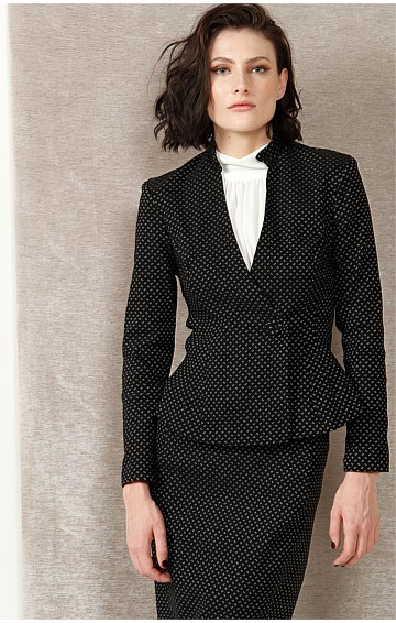ADALITA STRETCH TAILORED BUTTON FRONT JACKET IN BLACK IVORY SPOT