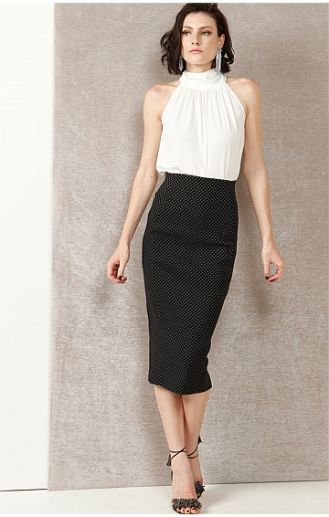 MYF PENCIL KNEE LENGTH TEXTURED SLIM FIT SKIRT IN BLACK IVORY SPOT