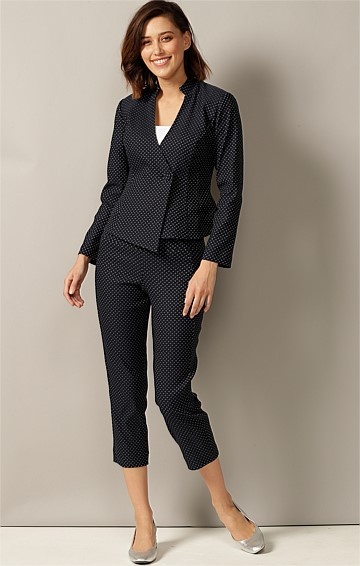 PATTI STRETCH WOVEN JACQUARD HIGH WAIST SLIM FIT PULL ON CIGARETTE PANT IN NAVY IVORY SPOT