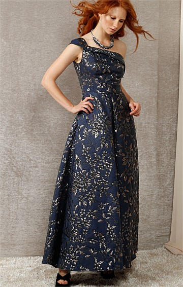 AZALEA ONE SHOULDER A-LINE EVENING FORMAL BALL GOWN IN NAVY SILVER BROCADE