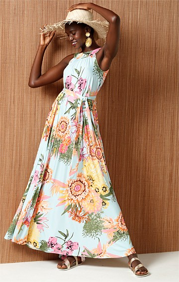COPACABANA REVERSIBLE MAXI DRESS IN AQUA FLORAL PRINT
