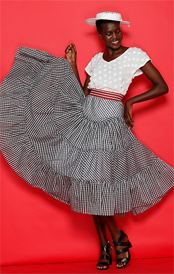 RUDYARD A-LINE MIDI FRILL SKIRT IN GINGHAM BLACK WHITE PRINT